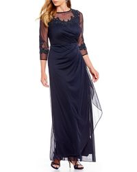 Alex Evenings - Plus Size Long Embroidered Mesh Illusion Gown - Lyst