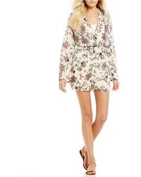 Patrons Of Peace | Floral-printed Bell Sleeve Romper | Lyst