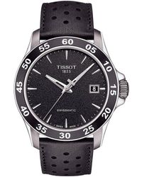 Tissot - V8 Men's Black Leather Strap Mechanical Automatic Watch - Lyst