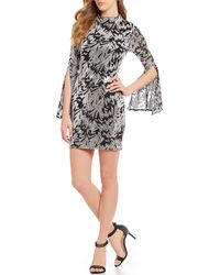 Betsy & Adam - Sequin Mock Neck Split Sleeve Mini Sheath Dress - Lyst