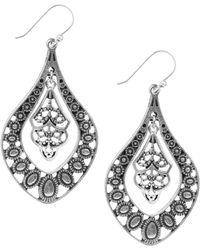Lucky Brand - Silver Filigree Oblong Drop Earrings - Lyst