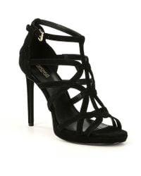 64ead235b95 MICHAEL Michael Kors - Sandra Suede Caged Platform Dress Sandals - Lyst