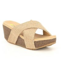 Volatile - Newcastle X-band Wedge Sandals - Lyst