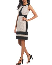 Ivanka Trump - Metallic Color Blocked Printed Sheath Dress - Lyst