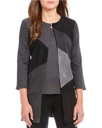 Ming Wang - Jewel Neck Colorblock Long Jacket - Lyst