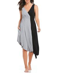 Donna Karan - Cross-front Colorblocked Jersey Gown - Lyst