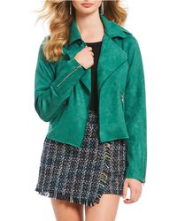 Skies Are Blue Faux Suede Moto Jacket - Green