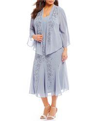 R & M Richards - Plus Size 2-piece Beaded Jacket Dress - Lyst