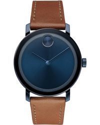 Movado Bold - Evolution Blue Dial Leather Strap Watch - Lyst