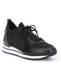 MICHAEL Michael Kors - Billie Snake Print Knit Trainer Sneakers - Lyst