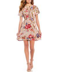 Blu Pepper - Woven Floral Dress - Lyst