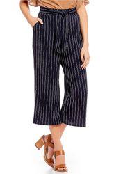 Blu Pepper - Striped Wide Crop Leg Pants - Lyst