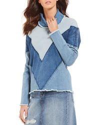 Ella Moss - Mila Oversized Two Tone Chevron Novelty Shirting Pullover Funnel-neck Denim Top - Lyst