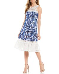 Belle By Badgley Mischka - Butterfly Embroidered Lace Combo Tassel Trim Cocktail Midi Dress - Lyst
