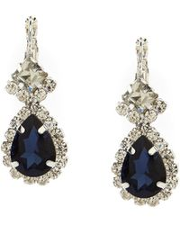 Cezanne - Framed Pear-drop Montana Sapphire And Rhinestone Sparkle-accented Earrings - Lyst