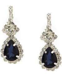 Cezanne - Framed Pear-drop Montana Sapphire And Rhinestone Sparkle-accented Statement Earrings - Lyst