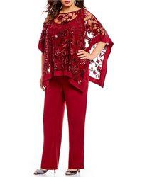 R & M Richards - Plus Size 2-piece Sequin Lace Poncho Pant Set - Lyst