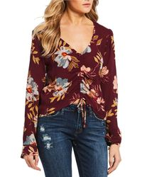 Patrons Of Peace - Floral Long Sleeve Cinched Top - Lyst
