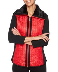 Ruby Rd. - Portrait Collar Zipper-front Faux Shearling Chintz Quilted Taffeta Vest - Lyst