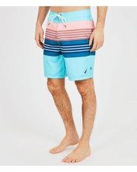 Nautica - Quick Dry Engineered Sun Stripe Swim Trunks - Lyst