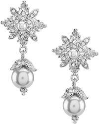 Marchesa - Faux Pearl & Crystal Drop Earrings - Lyst