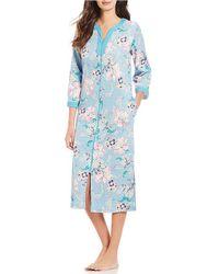 Miss Elaine - Floral Print Interlock Knit Zip-front Long Robe - Lyst