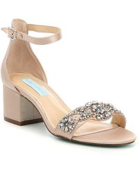 Betsey Johnson - Blue By Mel Bejeweled Satin Block Heel Dress Sandals - Lyst