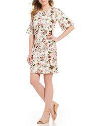 Bobeau - Elbow Bell Sleeve Floral Print Sheath Dress - Lyst