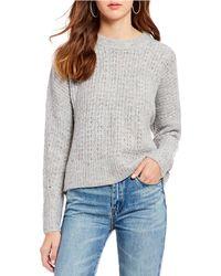 Chelsea & Violet - Melange Novelty Stitch Crew Neck Sweater - Lyst
