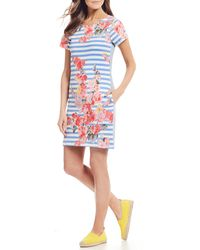 6a338bc11 Joules - Ottie Short Sleeve Floral Print Striped Shift Dress - Lyst