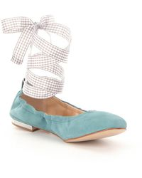 Gianni Bini - Linet Ankle Wrap Gingham Lace-up Flats - Lyst