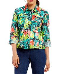 Ruby Rd. - Button Front Tropic Print Crinkle Burnout Roll-tab Sleeve Jacket - Lyst