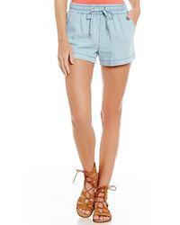 Freestyle - Chambray Drawstring-waist Front-pockets Soft Shorts - Lyst