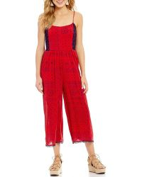 Patrons Of Peace - Printed Tie Back Cropped Jumpsuit - Lyst