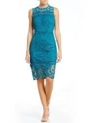 Mystic - Crochet Trim Lace Sheath Dress - Lyst
