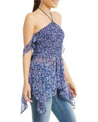 Banjara - Cold Shoulder Floral-print Smocked Halter Top - Lyst