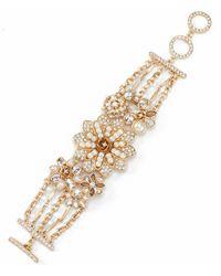 Belle By Badgley Mischka - Glitzy Flower Linear Bracelet - Lyst