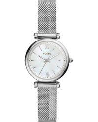 Fossil - Carlie Three-hand Stainless Steel Mesh Bracelet Watch - Lyst