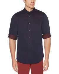 Perry Ellis - Solid Roll-tab Sleeve Yarn-dyed Jacquard Long-sleeve Woven Shirt - Lyst