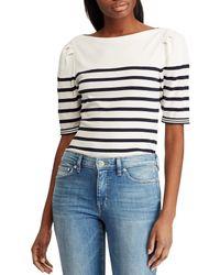 e1d17e28f54 Lauren by Ralph Lauren - Puffed Sleeve Stretch Cotton Striped Knit Top -  Lyst