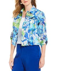 Ruby Rd. - Petite Size Roll-tab Sleeve Cubist Floral Print Burnout Jacket - Lyst