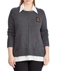 Lauren by Ralph Lauren - Plus Size Bullion Patch Layered Sweater - Lyst