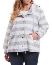 Jones New York - Plus Size Hooded Stripe Anorak Jacket - Lyst