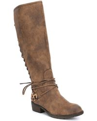Volatile - Marcel Lace Up Leopard Print Detail Tall Boots - Lyst