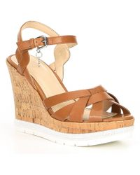 Guess - Dorcie Leather & Cork Wedge Sandals - Lyst