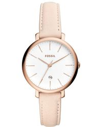 Lyst Fossil Jacqueline Threehand Pastel Pink Leather Watch And