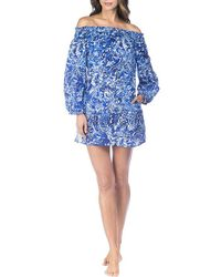 Lauren by Ralph Lauren - Playa Floral Smocked Off-the-shoulder Tunic Cover-up - Lyst