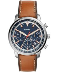 Fossil - Goodwin Chronograph Light Brown Leather Watch - Lyst