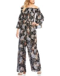 Patrons Of Peace - Floral Smocked Off The Shoulder Jumpsuit - Lyst