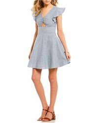Rossmore. - Ethan Striped Fit-and-flare Dress - Lyst
